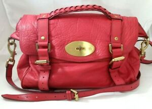 Mulberry Alexa Watermelon Red Soft Buffalo Leather Satchel Hand Bag Auth $1500