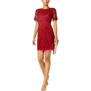 Adrianna Papell Womens Red Sequined Party Cocktail Dress Petites 4P BHFO 7076
