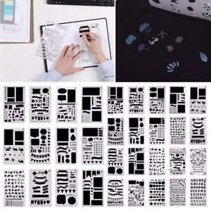 12/20pc Bullet Journal Stencil Set Plastic DIY Drawing Template Diary Decor Tool