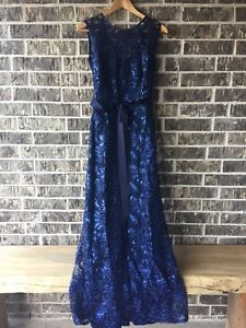 Women's Aspeed Design Navy Blue Lace Sequin Long Gown Formal Dress Small NEW
