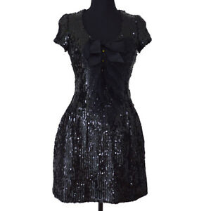 Auth CHANEL Vintage CC Spangle Short Sleeve One Piece Dress Black #38 Y02321