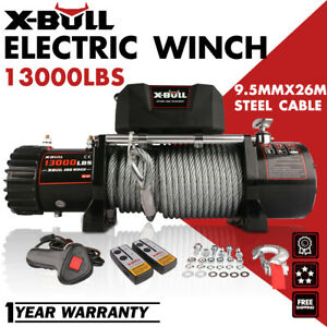 X-BULL 13000LBS Electric Winch 12V Steel Cable OffRoad Jeep Truck Towing Trailer