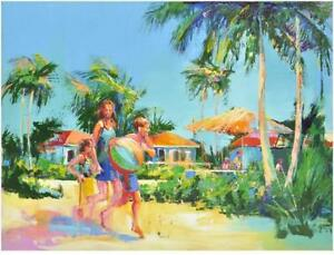 Family Tropical Scene Red Boat Original Artwork - Fanatics