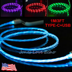 LED Light up flowing Flashing Visible USB C Type-C Charger Cable Charging Cord