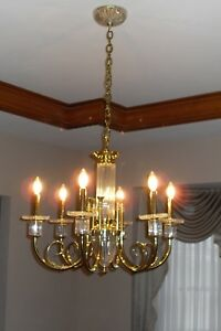 Exquisite chandelier, brass and crystal, excellent condition