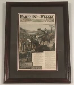 Antique stone lithograph of a July 1886 Harper's Weekly cover. Western scene.