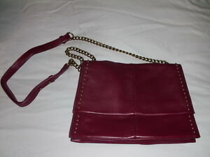 Badgley Mischka Red Textured Soft Leather Handbag Crossbody Chain Studded
