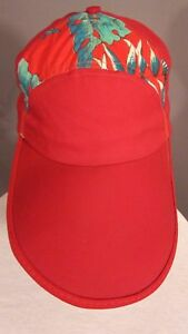 Vintage Red Multi Color Hawaiian Floral Tropical Long Bill Snapback Cap Hat USA