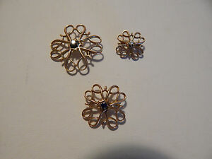 Vintage 10K Yellow Gold Diamond Pearl Sapphire Trio of Brooches Pins