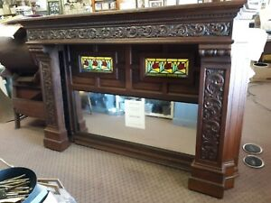 Antique 1850-1880 Oak Fireplace Mantel Mirror Stained  Glass Crown Molding