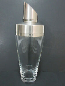 Rare Authentic Movado Clear Crystal Glass Martini Bar Cocktail Shaker