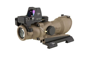 NEW Trijicon 4x32 ACOG Rifle Scope Amber Crosshair 5.56 RMR Red Dot FDE Tritium
