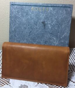 Vtg 1989 Rolfs AgrEvo Cowhide Bifold Wallet w Inserts Camel Brown New Gift Box