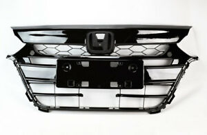 Black Replacement Front Upper & Lower Bumper Grills For Honda Accord 2018-2019