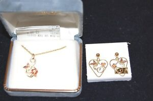 Necklace and Earing Set of Two Black Hills Gold Hummingbird 10K