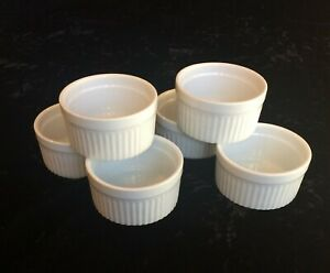 HIC Oven To Table White Porcelain Souffle Ramekins Set Of Six Vertical Ribs