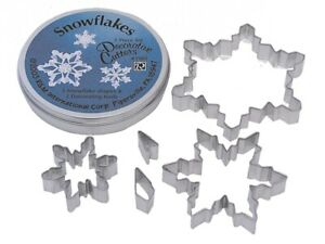 Snowflakes Tinplated Steel 5 Piece Cookie Cutter Set - 1985