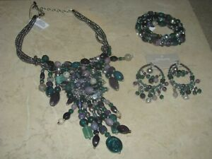 Chicos Declan Green Purple Statement Bib Necklace Bracelet Earrings NWT