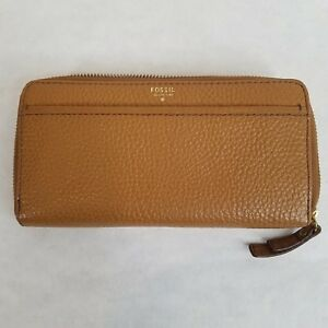 Fossil Wallet Ladies Caramel Pebbled Leather SWL1588 EUC