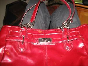 USED Flaw COACH CHELSEA RED PATENT LEATHER BAG PURSE 17855 BURGUNDY
