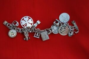 Vintage Sterling Silver Charm Bracelet w 14 Charms