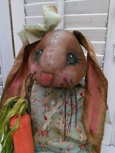 Primitive Spring Folk Art Easter Bunny Doll With Carrot ~ OOAK~