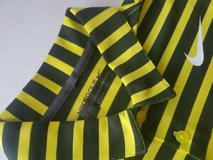 NIKE GOLF (Standard Fit) 833059 =Polo Shirt-Stripped= for Men Sz M (YellowBlk)