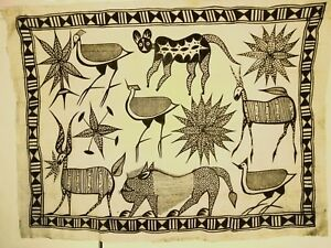 African Painting on Cloth - Ivory Coast Korhogo - Rare Collector's Item