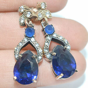 Turkish Sapphire Topaz .925 Sterling Silver Earrings 5ER16