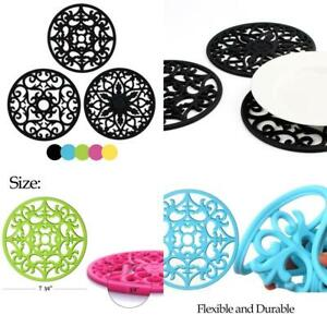 ME.FAN 3 Set Silicone Multi-Use Intricately Carved Trivet Mat - Insulated...