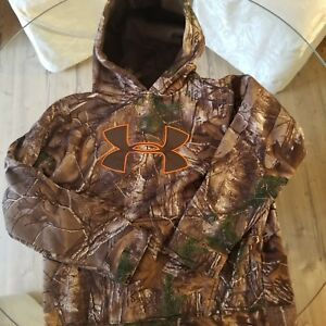 Boys Size YLG UNDER ARMOUR Hoodie Sweat Shirt Real Tree Camo Hunting Storm LARGE