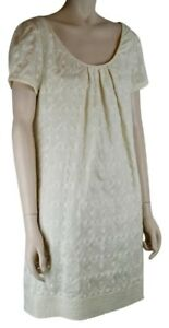 JUICY COUTURE IVORY CREAM COTTON DRESS EMBROIDERY CAP SLEEVES LINED SIZE 10