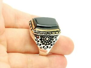 Turkish Jewelry Handmade 925 Sterling Silver Bronze Onyx Men's Ring Size 10 USA