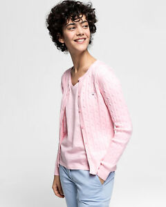 Gant Stretch Cotton Cable Crew Womens Jumper Cardigan - California Pink