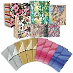Gift Bag & Tissue Assortment Floral Designs (6 Bags)
