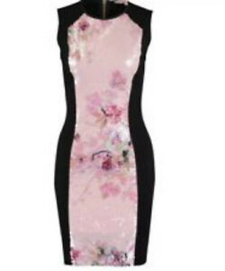 TED BAKER FOXBERY SEQUIN BLOSSOM  BODY-CON DRESS SIZE 3 UK 12 BNWT