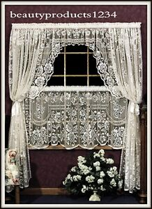 HERITAGE LACE Ecru VICTORIAN ROSE Swag Pair 72quot;W x 38quot;L Made USA LACE $34.95