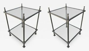 Pair of Claudio Rayes Iron Side Tables