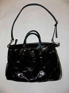 COACH DIAGONAL PLEATED PATENT LEATHER BLACK SATCHEL JULIETTE 21304 EUC
