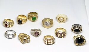 12 pieces cocktail ring .925 gold plated and silver plated sizes 5 6 7
