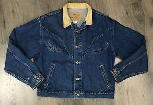 Schaefer Outfitter Denim Jacket Leather Collar Trucker Blue Jean Ranchwear Large