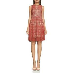 BCBG Max Azria Womens Alice Red Lace Fit & Flare Cocktail Dress 0 BHFO 1944