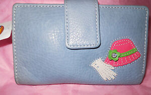 Fossil Leather Wallet Blue with Ladies Hat and Gloves Vintage Rare New Contidion