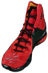 Cam Newton Carolina Panthers Autographed Red & Black Under Armour Sneaker - JSA