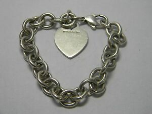 TIFFANY & CO. 925 Sterling Silver Heart Tag Chain Bracelet