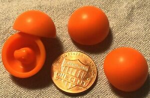 Set of 4 Domed Bright Orange Plastic Shank Buttons Just Over 11/16