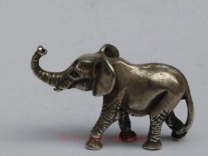 Collection Ancient China Tibet Silver Carving Elephant Statue Pendant Decoration