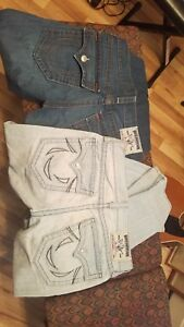 True Religion Straight Jeans 33 2 pairs   Solid Heavy Metal  Fast Loud save $$