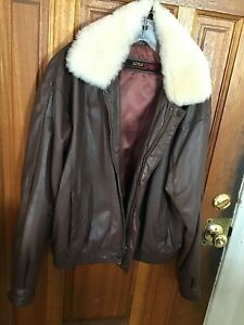 Men's Brown Leather Bomber Style Jacket wRemovable Faux Fur Collar Sz L Zip Up