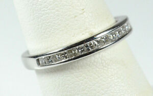 14K WHITE GOLD PRINCESS SQUARES DIAMOND ENGAGEMENT BAND RING  1.00 CARATS